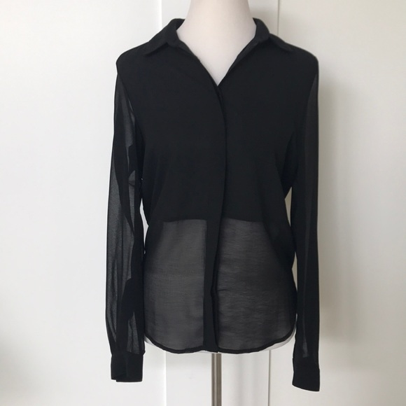 2faabf04c Lush Tops | Black Chiffon Button Down Blouse | Poshmark